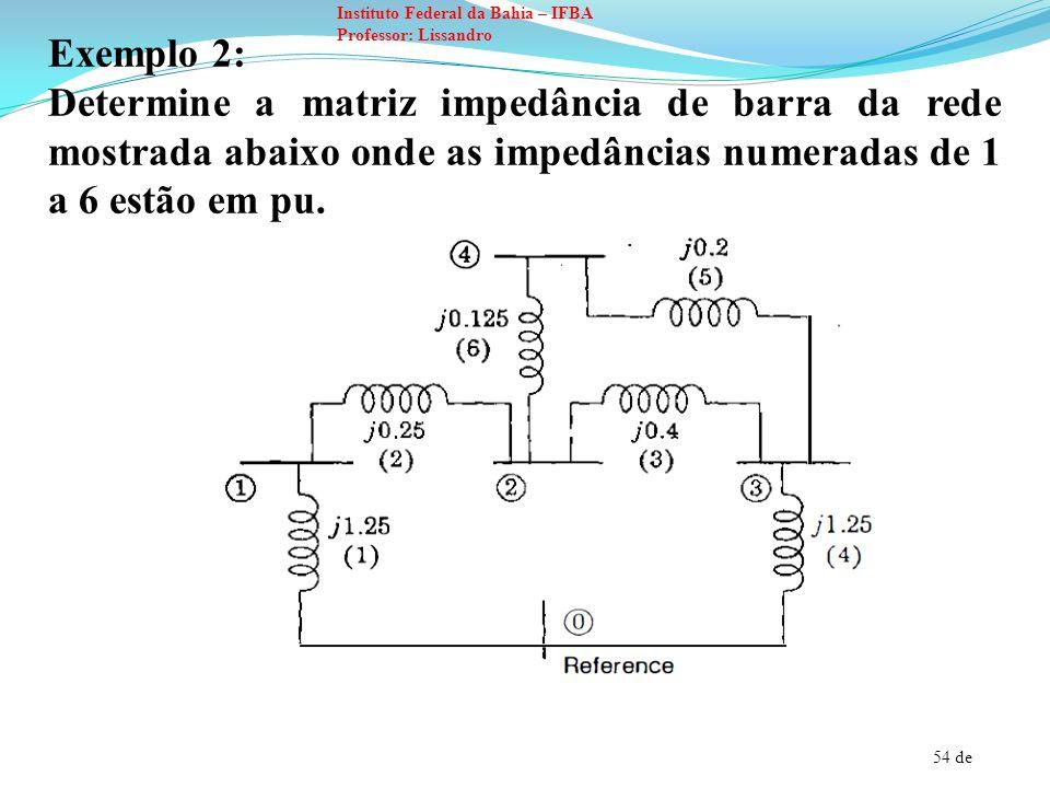 54 de Instituto Federal da Bahia – IFBA Professor: Lissandro Exemplo 2: Determine a matriz impedância de barra da rede mostrada abaixo onde as impedân