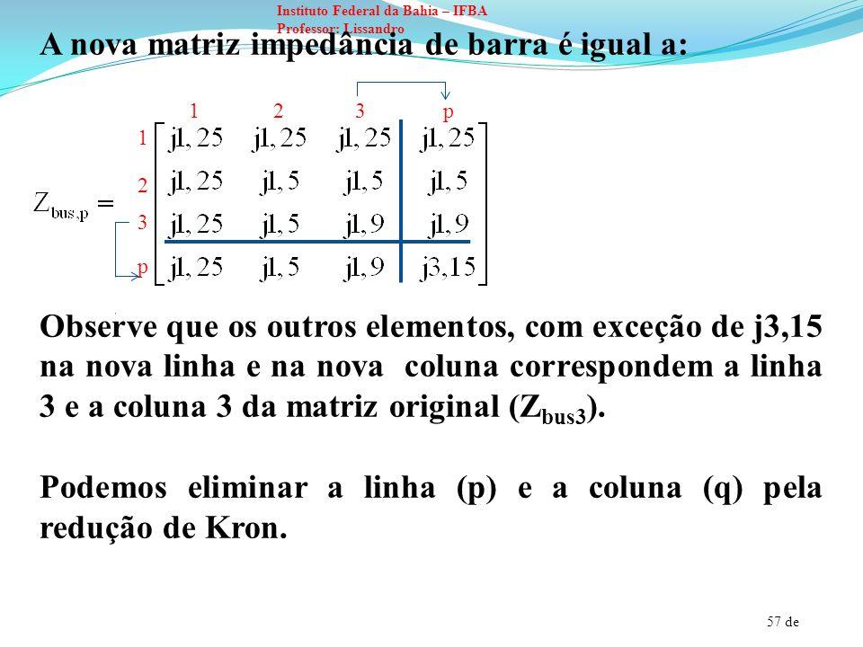 57 de Instituto Federal da Bahia – IFBA Professor: Lissandro A nova matriz impedância de barra é igual a: Observe que os outros elementos, com exceção