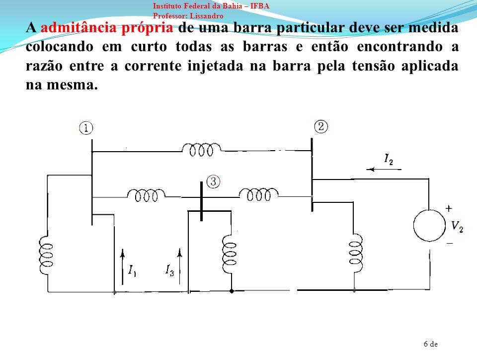 7 de Instituto Federal da Bahia – IFBA Professor: Lissandro O resultado equivale a adicionar todas as admitâncias conectadas diretamente a barra, que é o procedimento quando não existem admitâncias mútuas.