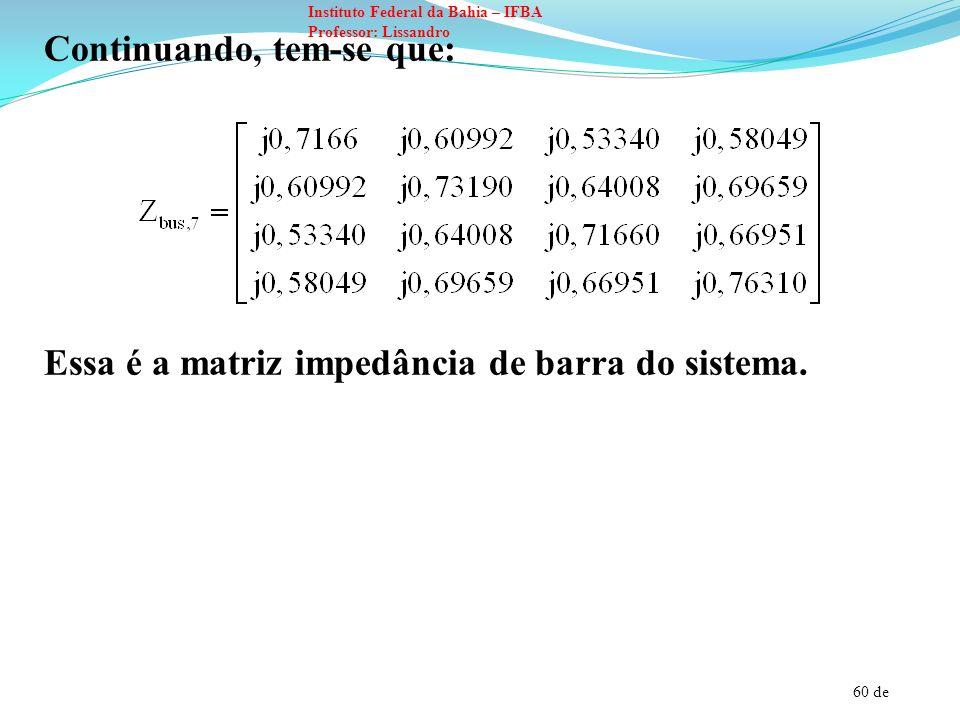 61 de Instituto Federal da Bahia – IFBA Professor: Lissandro EXEMPLO 3: Modifique a matriz impedância de barra abaixo para levar em consideração a conexão de um capacitor com reatância igual a 5 pu entre a barra (4) e o nó de referência.