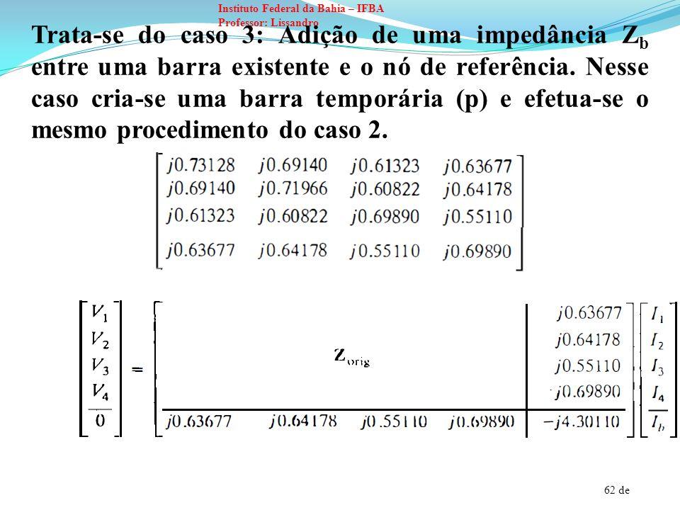 62 de Instituto Federal da Bahia – IFBA Professor: Lissandro Trata-se do caso 3: Adição de uma impedância Z b entre uma barra existente e o nó de refe