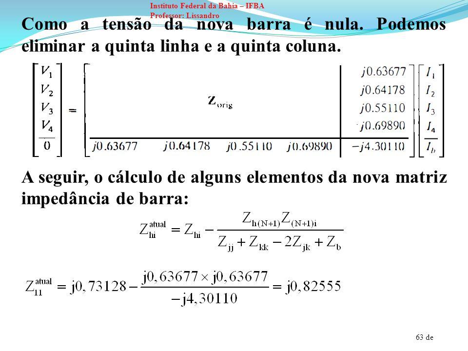 63 de Instituto Federal da Bahia – IFBA Professor: Lissandro Como a tensão da nova barra é nula. Podemos eliminar a quinta linha e a quinta coluna. A