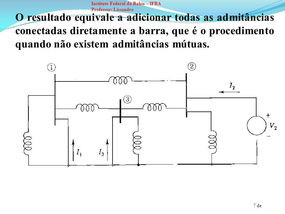 7 de Instituto Federal da Bahia – IFBA Professor: Lissandro O resultado equivale a adicionar todas as admitâncias conectadas diretamente a barra, que