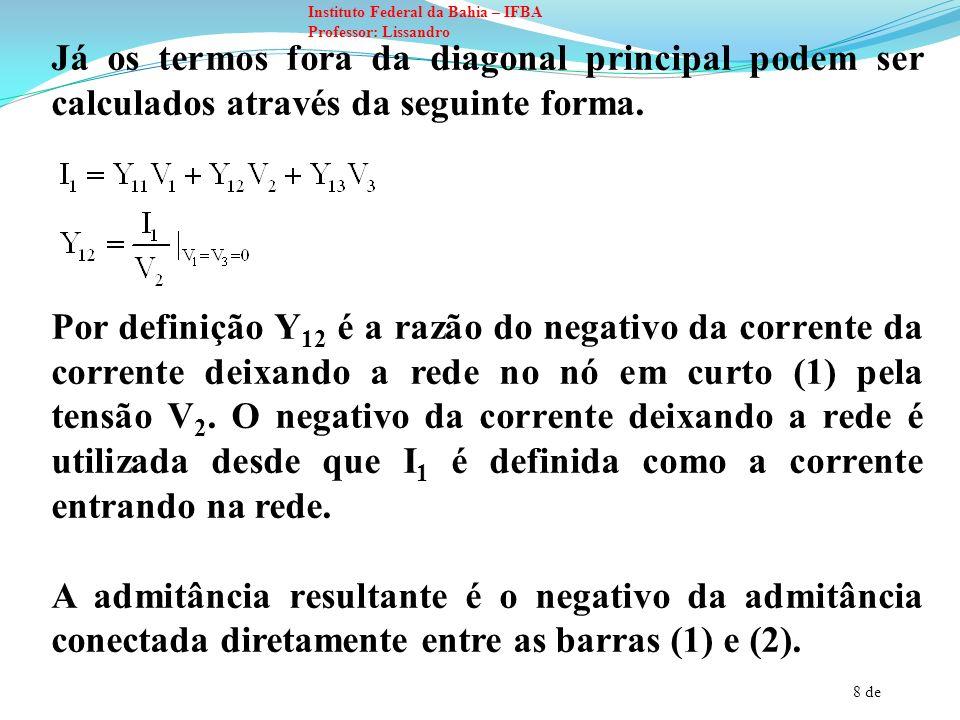 9 de Instituto Federal da Bahia – IFBA Professor: Lissandro Para resolver a equação abaixo: Observe que V e I são vetores colunas de tensão das barras e de corrente entrando nas barras a partir de fontes de corrente.