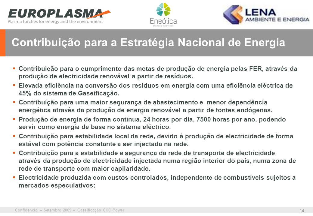Confidencial – Setembro 2009 – Gaseificação CHO-Power 14 Contribuição para a Estratégia Nacional de Energia Contribuição para o cumprimento das metas