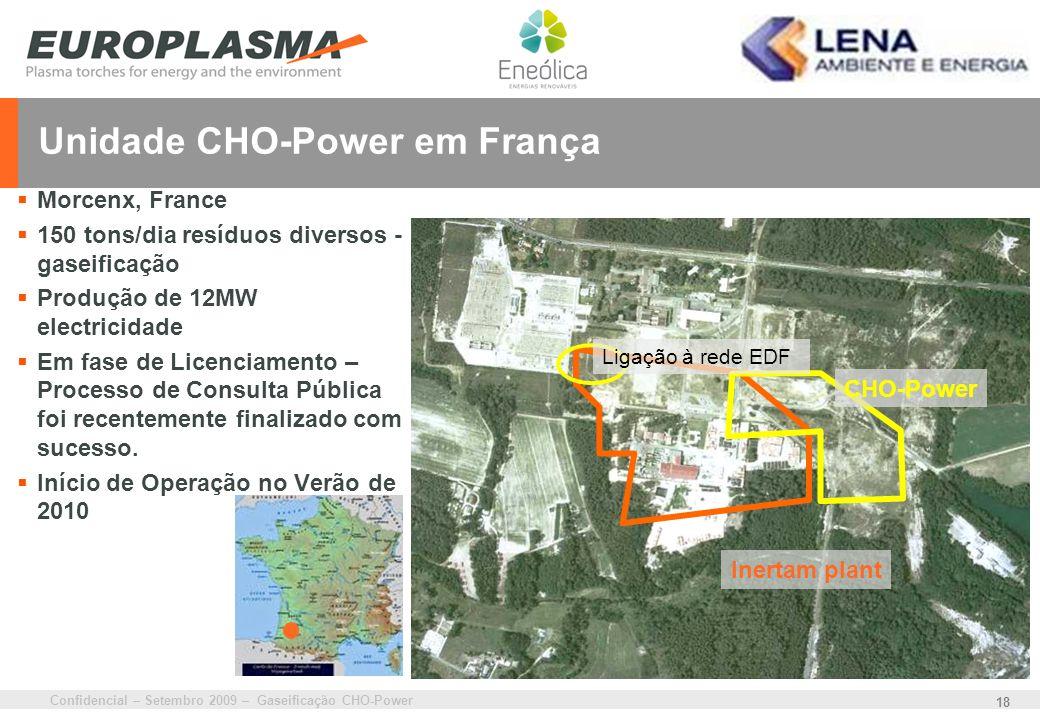 Confidencial – Setembro 2009 – Gaseificação CHO-Power 18 Unidade CHO-Power em França Morcenx, France 150 tons/dia resíduos diversos - gaseificação Pro