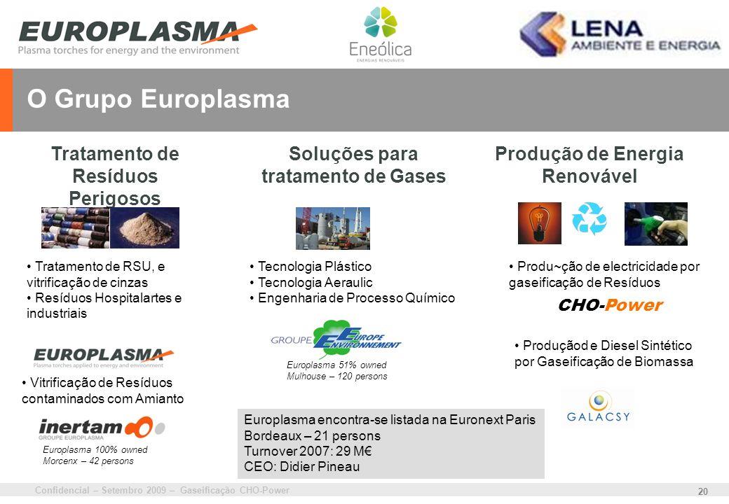 Confidencial – Setembro 2009 – Gaseificação CHO-Power 20 O Grupo Europlasma Produção de Energia Renovável Tratamento de RSU, e vitrificação de cinzas