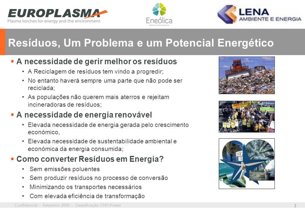 Confidencial – Setembro 2009 – Gaseificação CHO-Power 14 Contribuição para a Estratégia Nacional de Energia Contribuição para o cumprimento das metas de produção de energia pelas FER, através da produção de electricidade renovável a partir de resíduos.