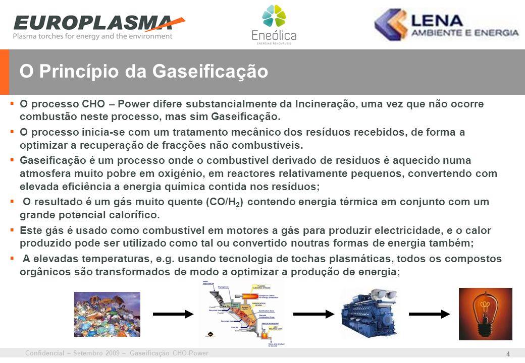 Confidencial – Setembro 2009 – Gaseificação CHO-Power 4 O Princípio da Gaseificação O processo CHO – Power difere substancialmente da Incineração, uma