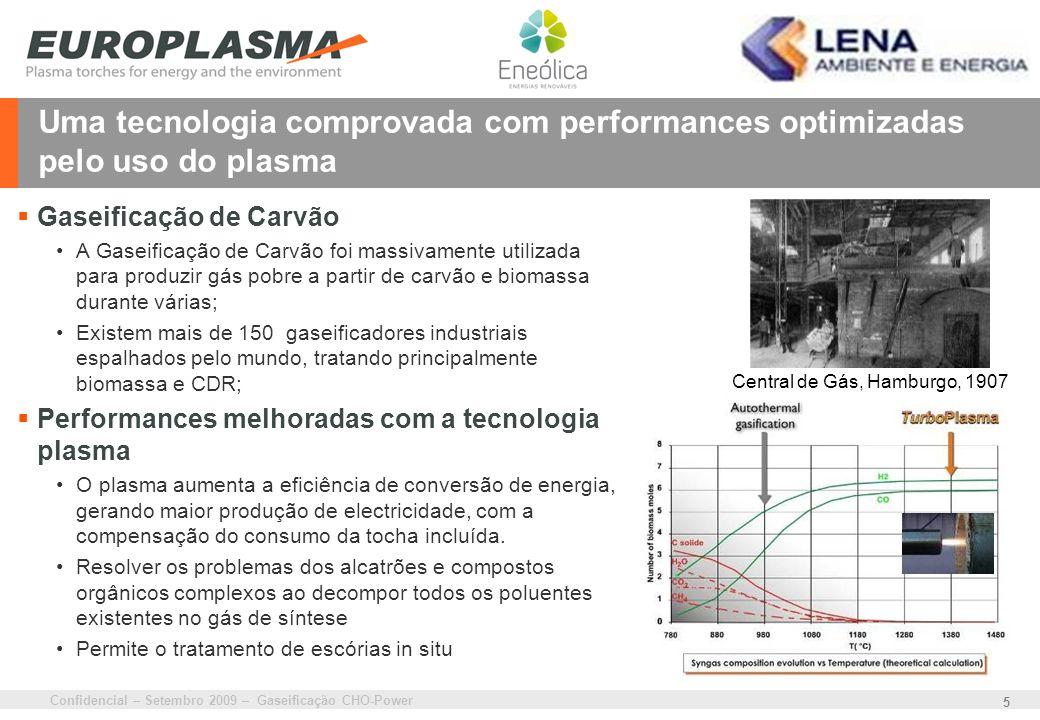 Confidencial – Setembro 2009 – Gaseificação CHO-Power 5 Uma tecnologia comprovada com performances optimizadas pelo uso do plasma Gaseificação de Carv