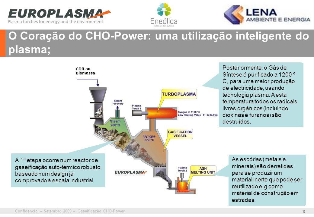 Confidencial – Setembro 2009 – Gaseificação CHO-Power 6 O Coração do CHO-Power: uma utilização inteligente do plasma; First stage is a robust stoker g
