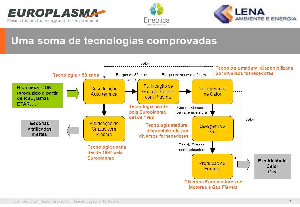 Confidencial – Setembro 2009 – Gaseificação CHO-Power 7 Uma soma de tecnologias comprovadas Tecnologia madura, disponibilizada por diversos fornecedor