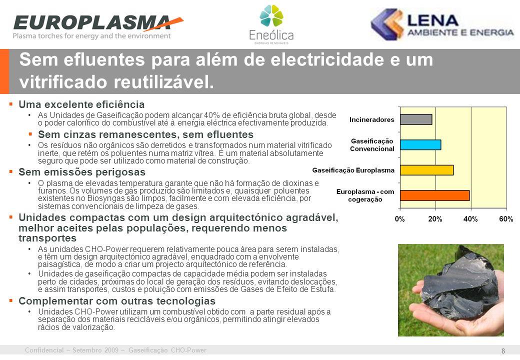 Confidencial – Setembro 2009 – Gaseificação CHO-Power 8 Sem efluentes para além de electricidade e um vitrificado reutilizável. Uma excelente eficiênc