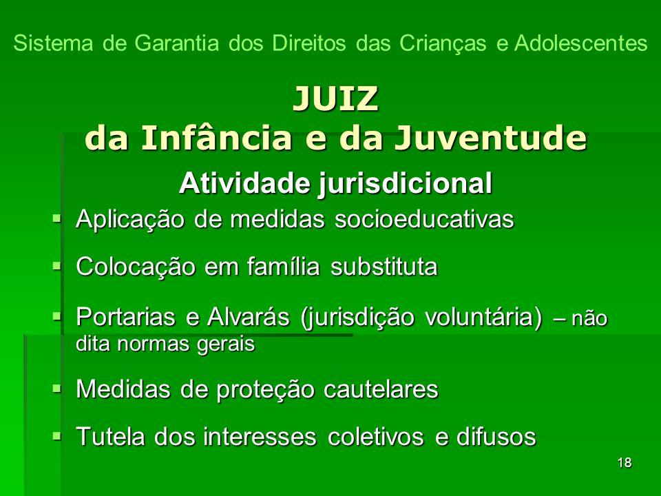 18 JUIZ da Infância e da Juventude Atividade jurisdicional Aplicação de medidas socioeducativas Aplicação de medidas socioeducativas Colocação em famí