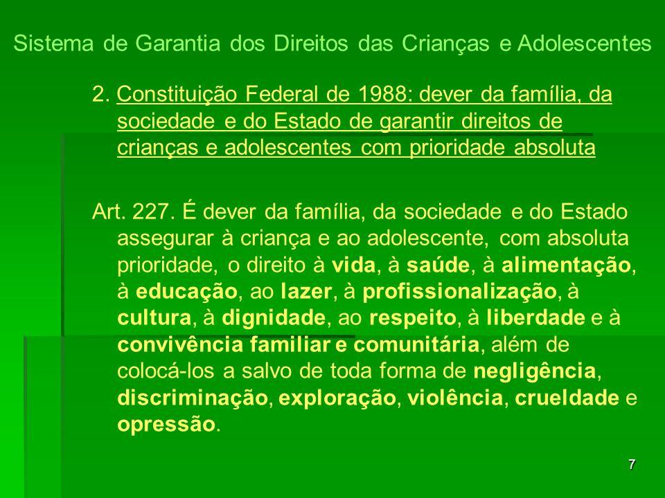7 2. Constituição Federal de 1988: dever da família, da sociedade e do Estado de garantir direitos de crianças e adolescentes com prioridade absoluta