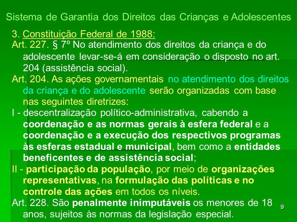 9 3.Constituição Federal de 1988: Art. 227.