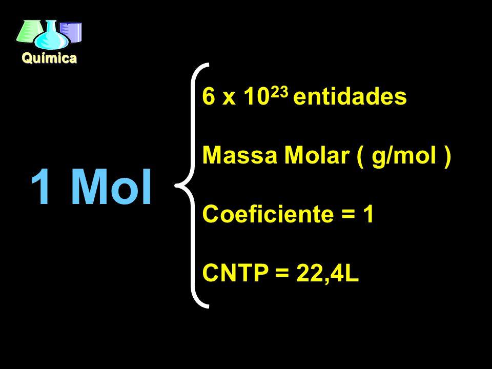 Química 1 Mol 6 x 10 23 entidades Massa Molar ( g/mol ) Coeficiente = 1 CNTP = 22,4L