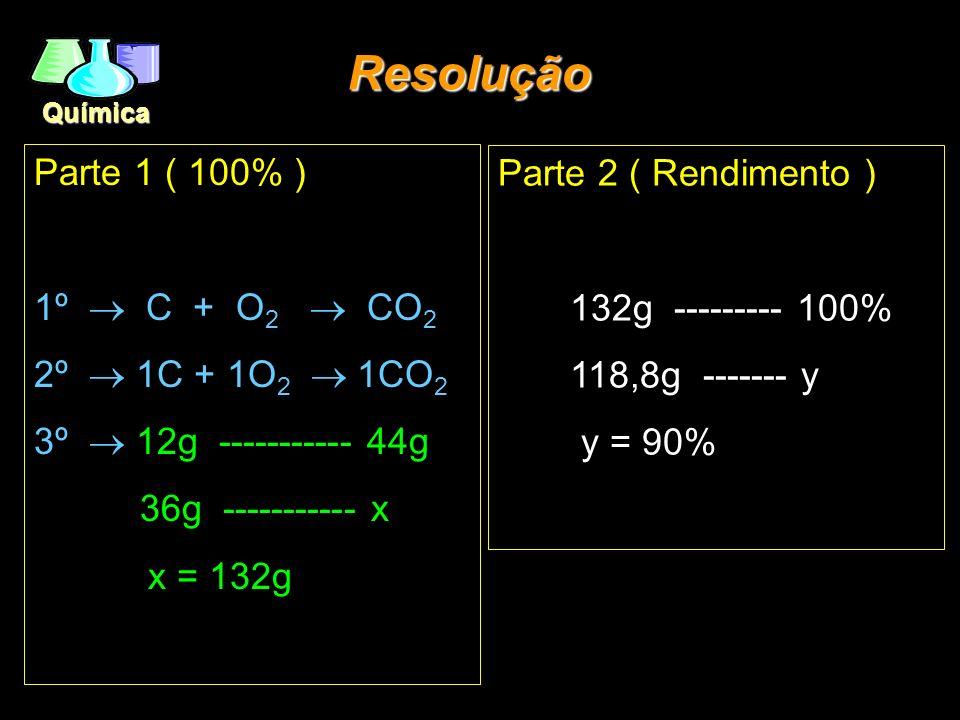 Química Parte 1 ( 100% ) 1º C + O 2 CO 2 2º 1C + 1O 2 1CO 2 3º 12g ----------- 44g 36g ----------- x x = 132g Resolução Parte 2 ( Rendimento ) 132g --