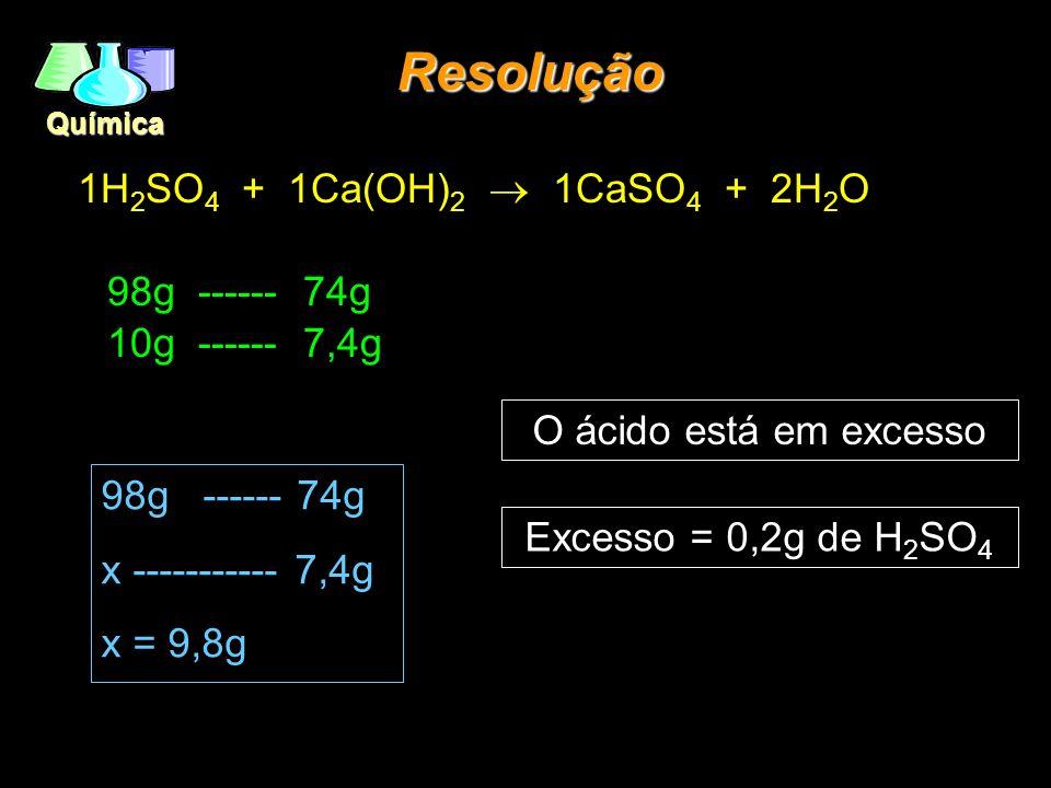 Química 1H 2 SO 4 + 1Ca(OH) 2 1CaSO 4 + 2H 2 O 98g ------ 74g 10g ------ 7,4g Resolução 98g ------ 74g x ----------- 7,4g x = 9,8g Excesso = 0,2g de H