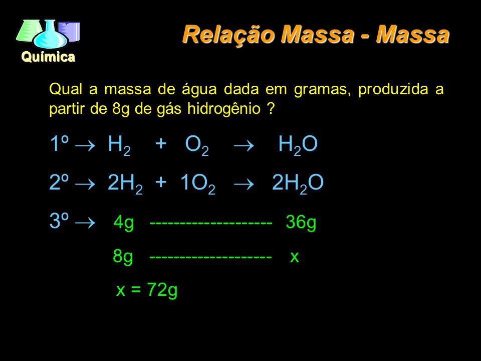 Química Relação Massa - Massa Qual a massa de água dada em gramas, produzida a partir de 8g de gás hidrogênio ? 1º H 2 + O 2 H 2 O 2º 2H 2 + 1O 2 2H 2