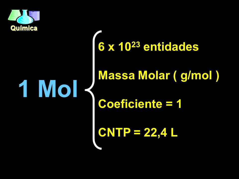 Química 1 Mol 6 x 10 23 entidades Massa Molar ( g/mol ) Coeficiente = 1 CNTP = 22,4 L