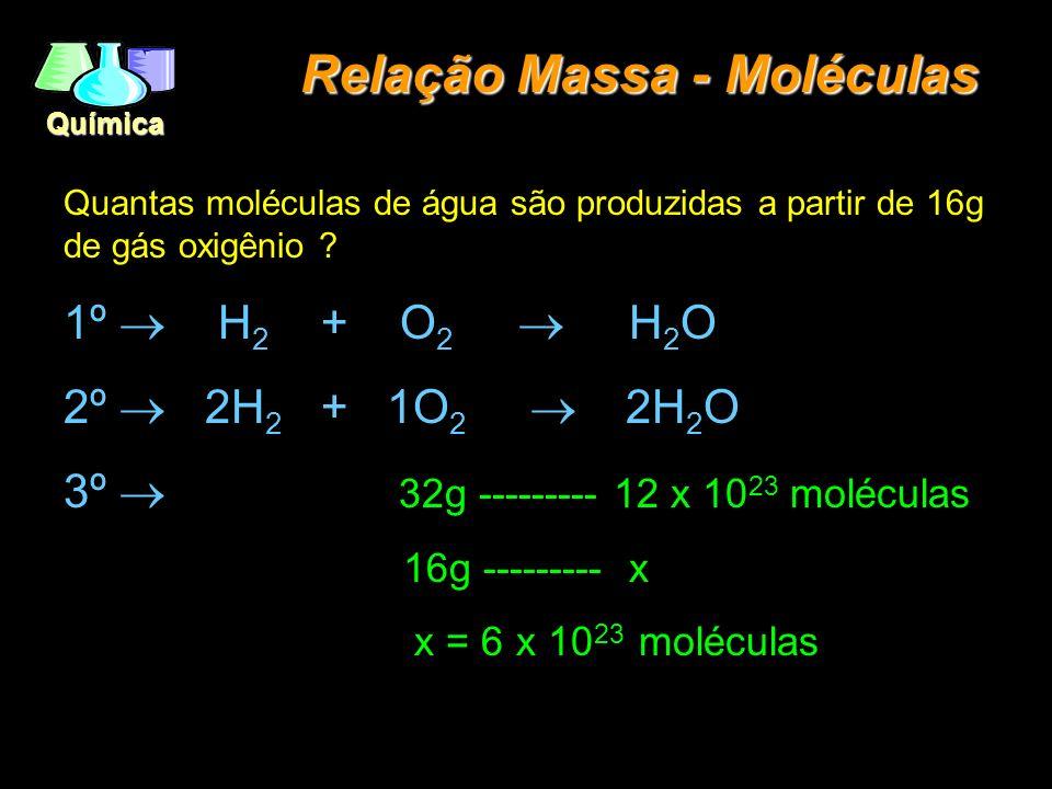 Química Relação Massa - Moléculas Quantas moléculas de água são produzidas a partir de 16g de gás oxigênio ? 1º H 2 + O 2 H 2 O 2º 2H 2 + 1O 2 2H 2 O