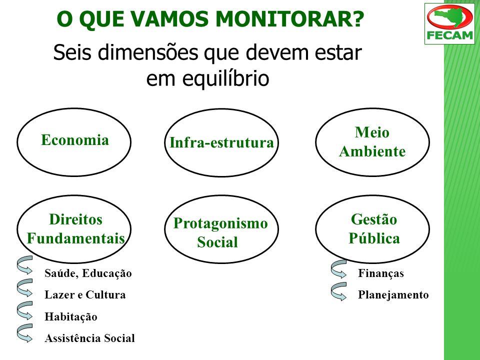 O QUE VAMOS MONITORAR? Seis dimensões que devem estar em equilíbrio Economia Infra-estrutura Meio Ambiente Direitos Fundamentais Protagonismo Social G