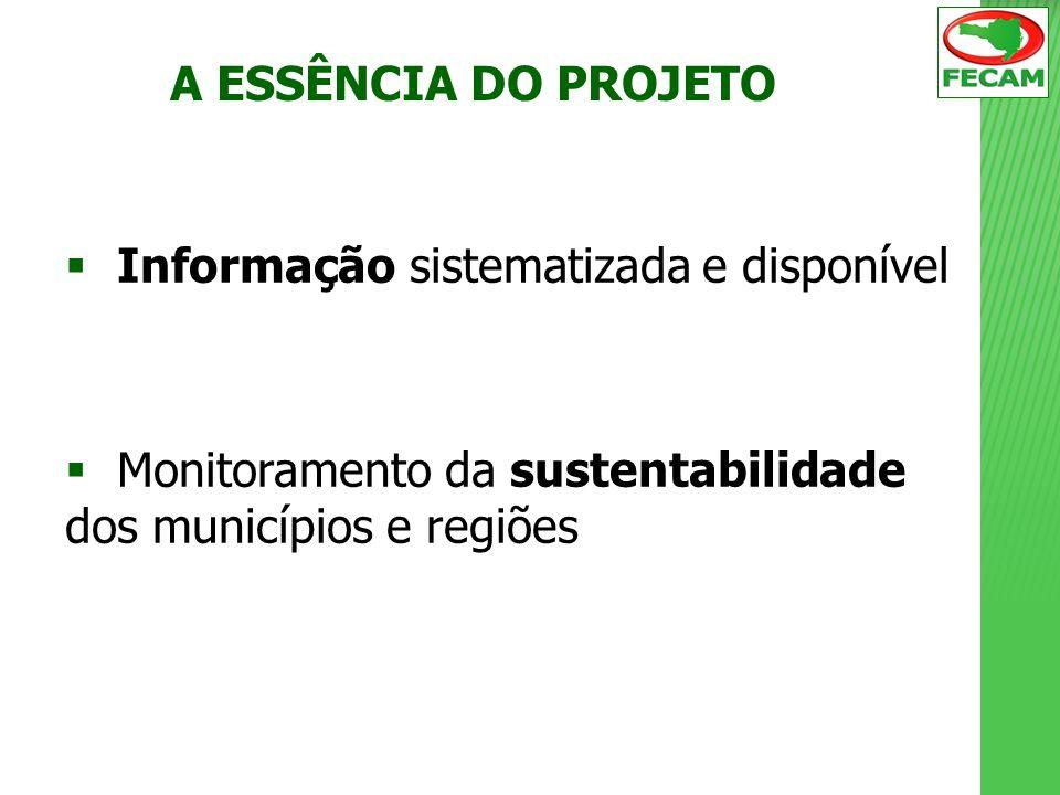 Informação sistematizada e disponível Monitoramento da sustentabilidade dos municípios e regiões A ESSÊNCIA DO PROJETO