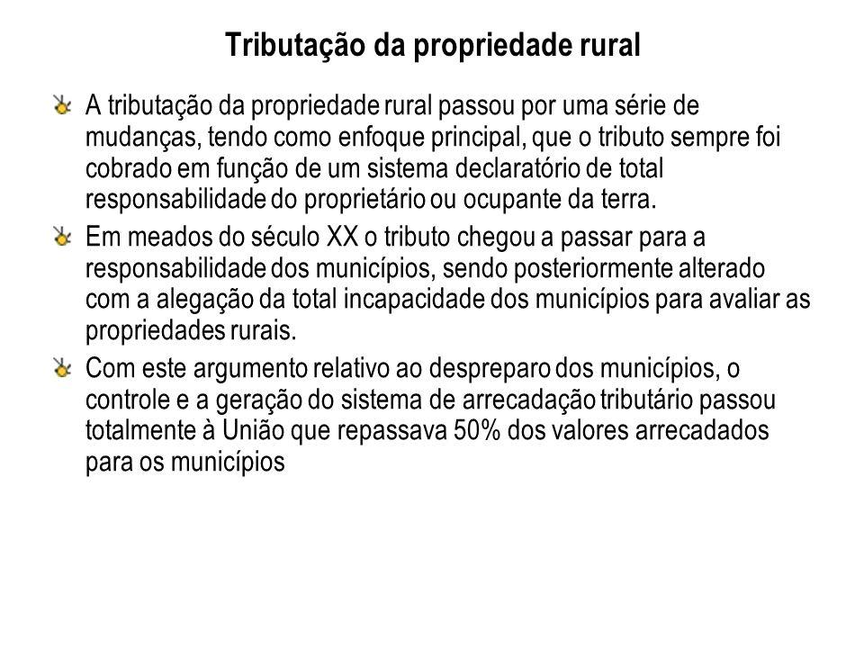 Tributação da propriedade rural A tributação da propriedade rural passou por uma série de mudanças, tendo como enfoque principal, que o tributo sempre