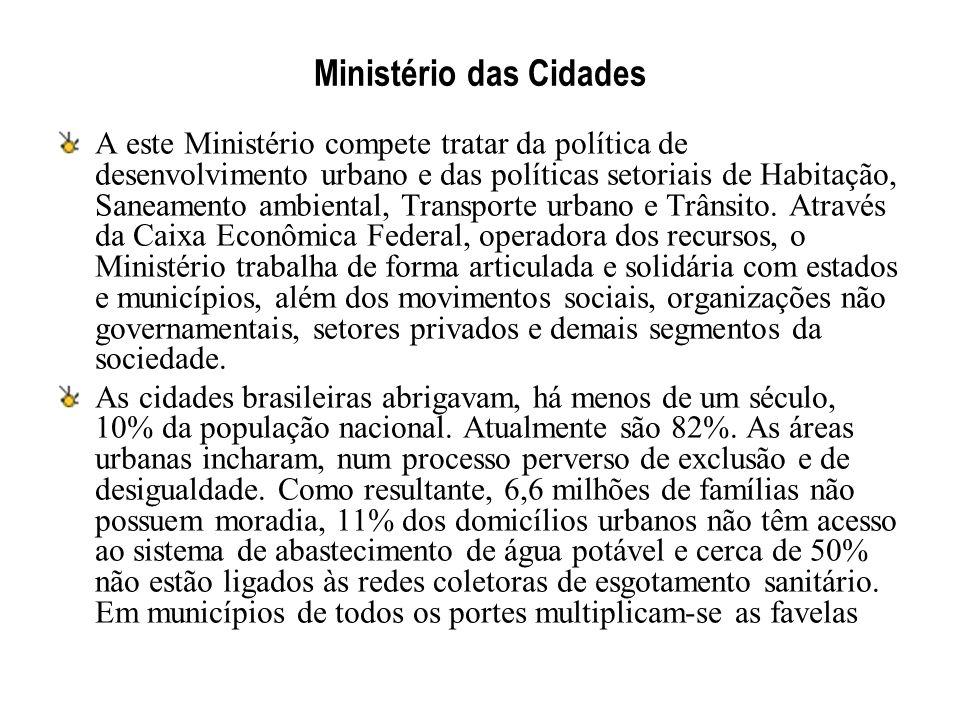 Ministério das Cidades A este Ministério compete tratar da política de desenvolvimento urbano e das políticas setoriais de Habitação, Saneamento ambie