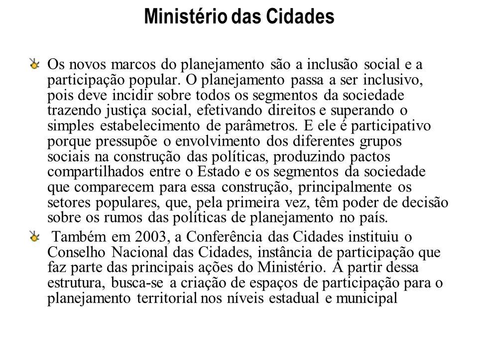 Ministério das Cidades Os novos marcos do planejamento são a inclusão social e a participação popular. O planejamento passa a ser inclusivo, pois deve