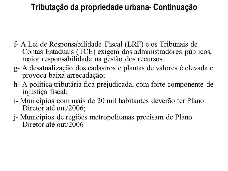 Tributação da propriedade urbana- Continuação f- A Lei de Responsabilidade Fiscal (LRF) e os Tribunais de Contas Estaduais (TCE) exigem dos administra