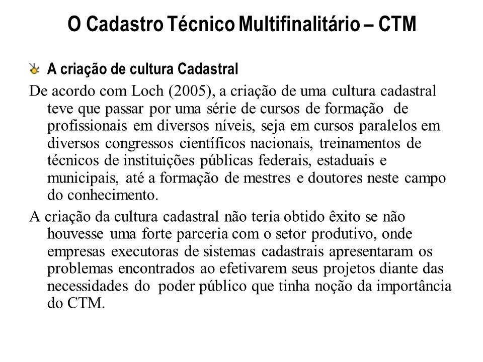 O Cadastro Técnico Multifinalitário – CTM A criação de cultura Cadastral De acordo com Loch (2005), a criação de uma cultura cadastral teve que passar