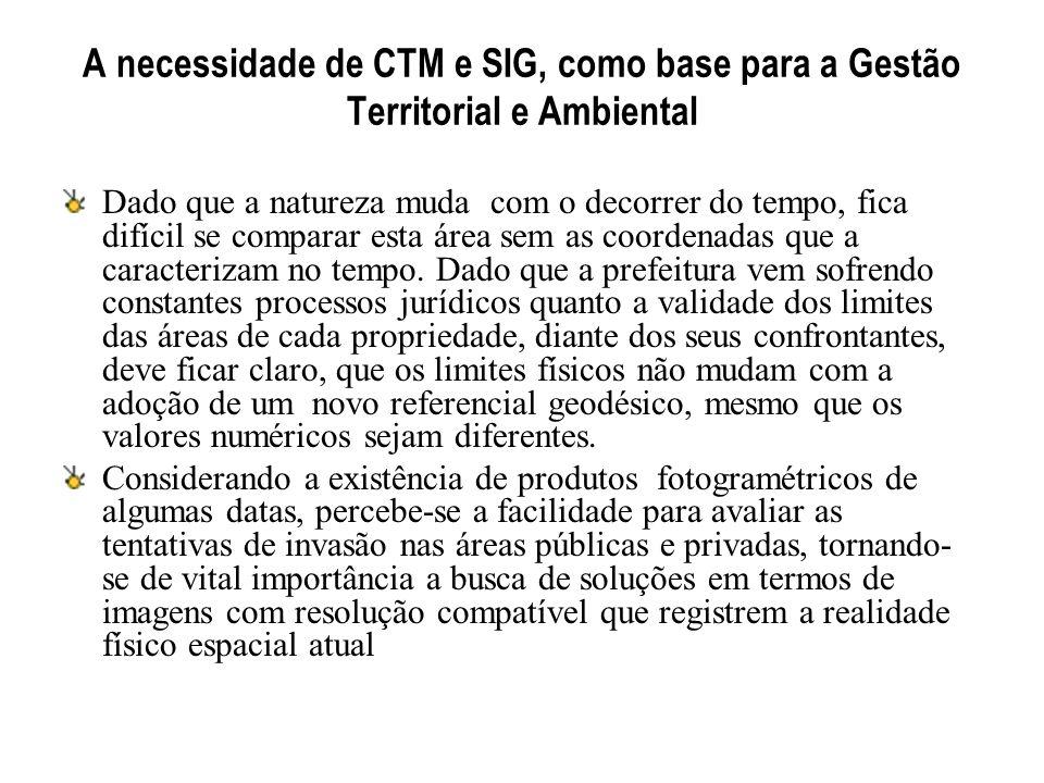 A necessidade de CTM e SIG, como base para a Gestão Territorial e Ambiental Dado que a natureza muda com o decorrer do tempo, fica difícil se comparar