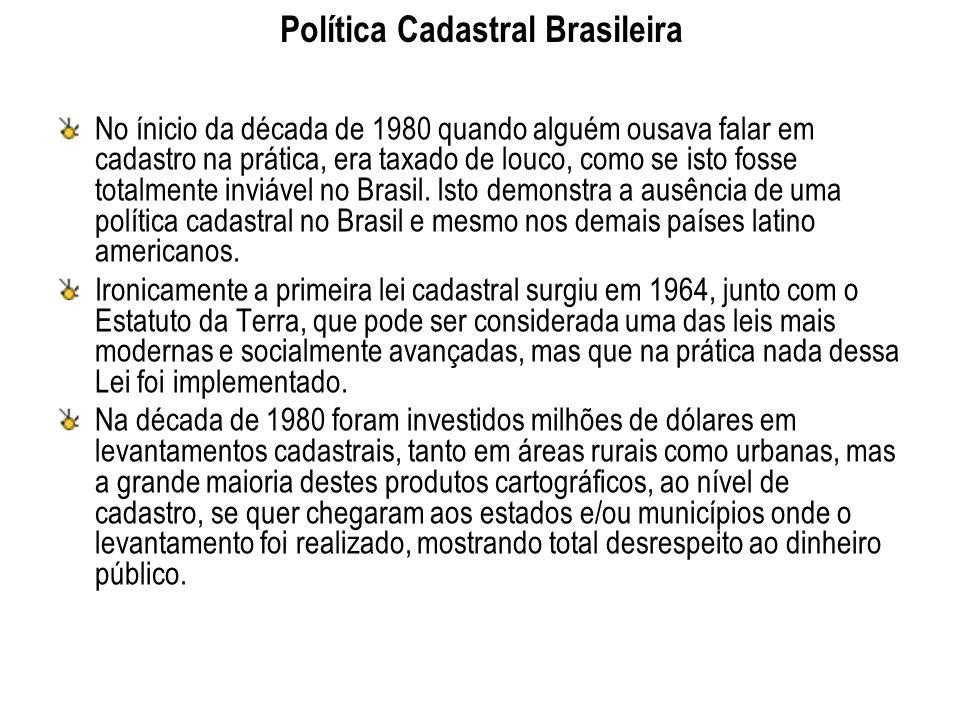Política Cadastral Brasileira No ínicio da década de 1980 quando alguém ousava falar em cadastro na prática, era taxado de louco, como se isto fosse t