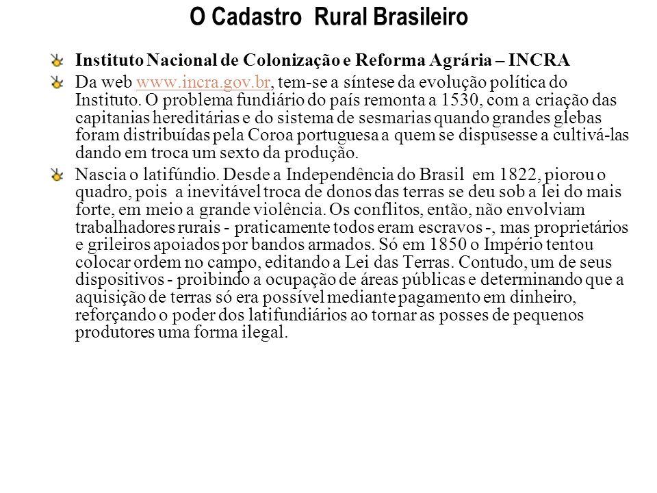 O Cadastro Rural Brasileiro Instituto Nacional de Colonização e Reforma Agrária – INCRA Da web www.incra.gov.br, tem-se a síntese da evolução política