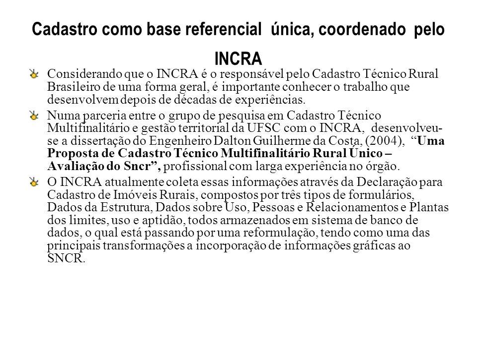 Cadastro como base referencial única, coordenado pelo INCRA Considerando que o INCRA é o responsável pelo Cadastro Técnico Rural Brasileiro de uma for