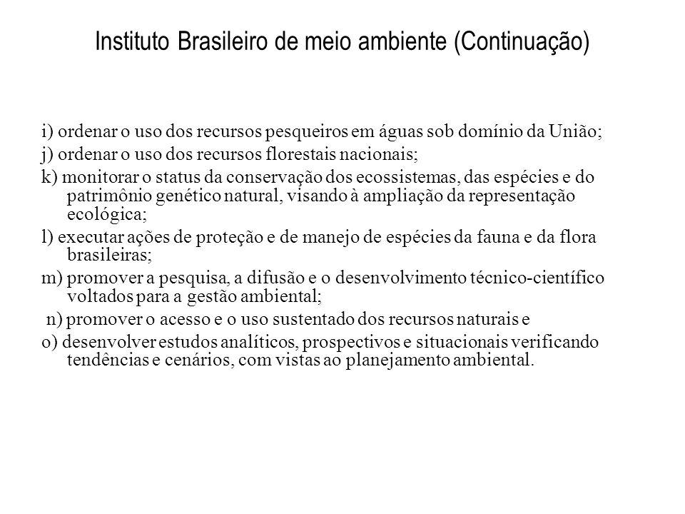 Instituto Brasileiro de meio ambiente (Continuação) i) ordenar o uso dos recursos pesqueiros em águas sob domínio da União; j) ordenar o uso dos recur