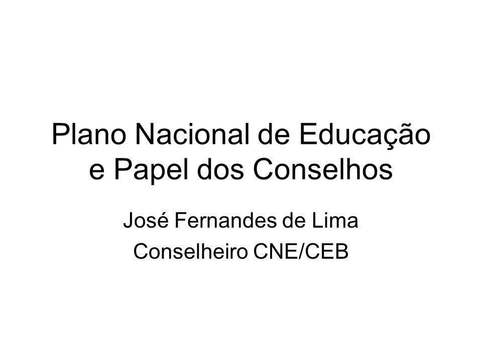 Plano Nacional de Educação e Papel dos Conselhos José Fernandes de Lima Conselheiro CNE/CEB
