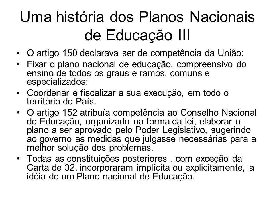 Uma história dos Planos Nacionais de Educação III O artigo 150 declarava ser de competência da União: Fixar o plano nacional de educação, compreensivo