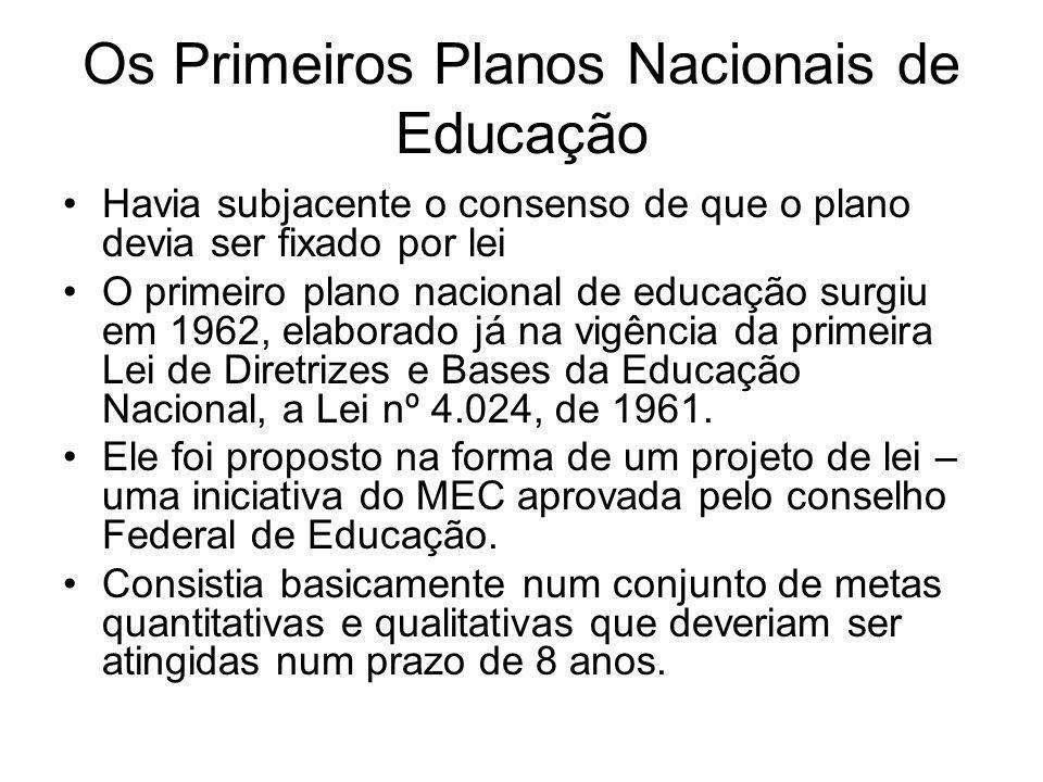Os Primeiros Planos Nacionais de Educação Havia subjacente o consenso de que o plano devia ser fixado por lei O primeiro plano nacional de educação su
