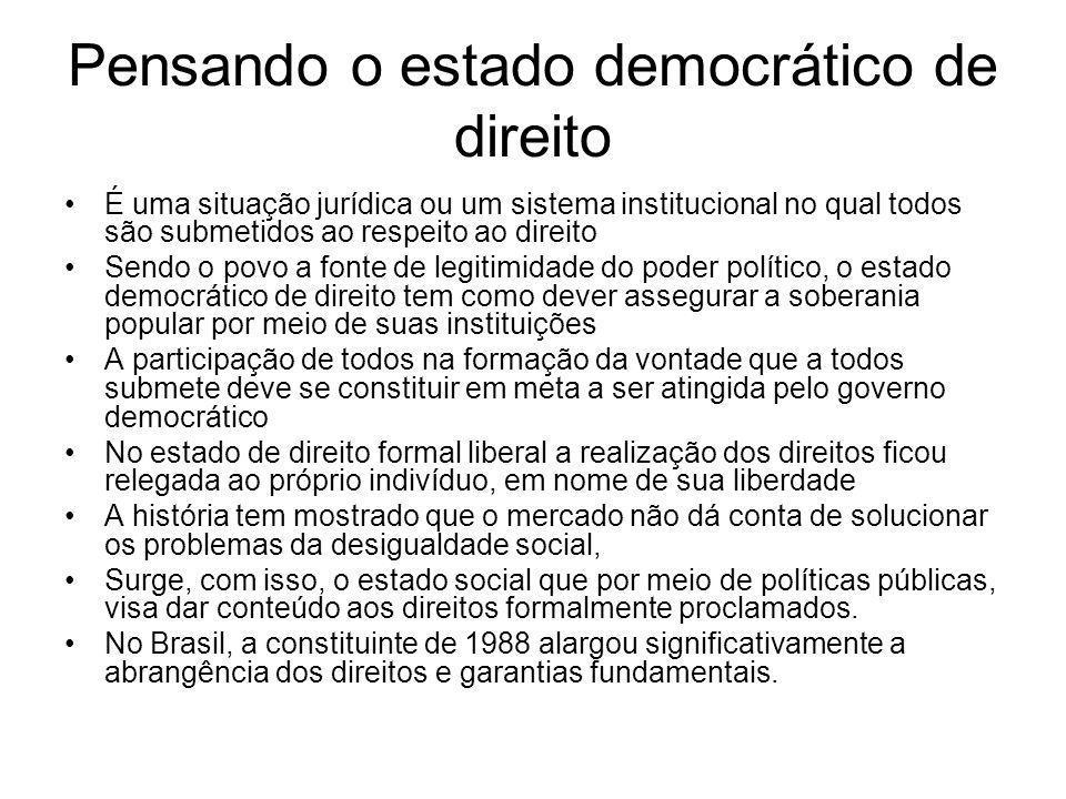 Pensando o estado democrático de direito É uma situação jurídica ou um sistema institucional no qual todos são submetidos ao respeito ao direito Sendo
