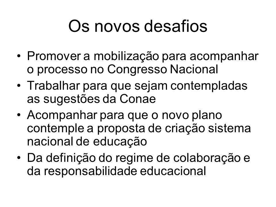 Os novos desafios Promover a mobilização para acompanhar o processo no Congresso Nacional Trabalhar para que sejam contempladas as sugestões da Conae