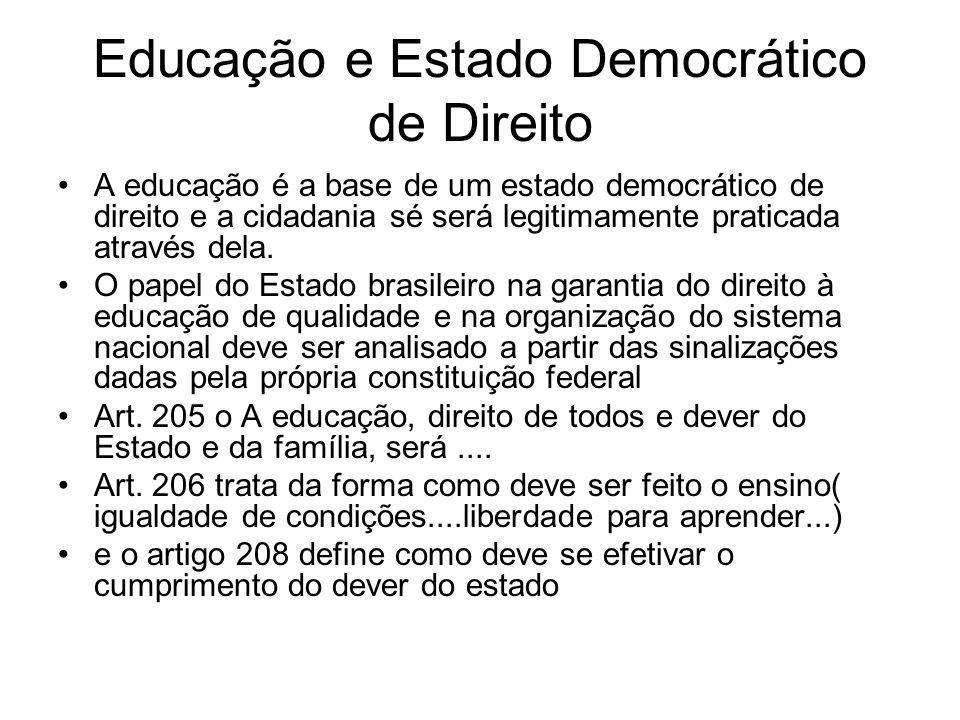 Educação e Estado Democrático de Direito A educação é a base de um estado democrático de direito e a cidadania sé será legitimamente praticada através