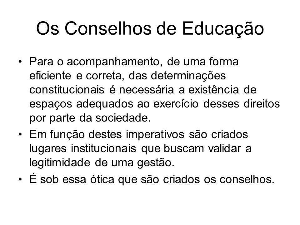 Os Conselhos de Educação A primeira tentativa de criação de um conselho na estrutura da administração pública, na área da educação, aconteceu na Bahia, em 1842 A idéia de um conselho superior somente foi objetivada em 1911 (Decreto nº 8.659, de 05/04/1911) com a criação do Conselho Superior de Ensino.