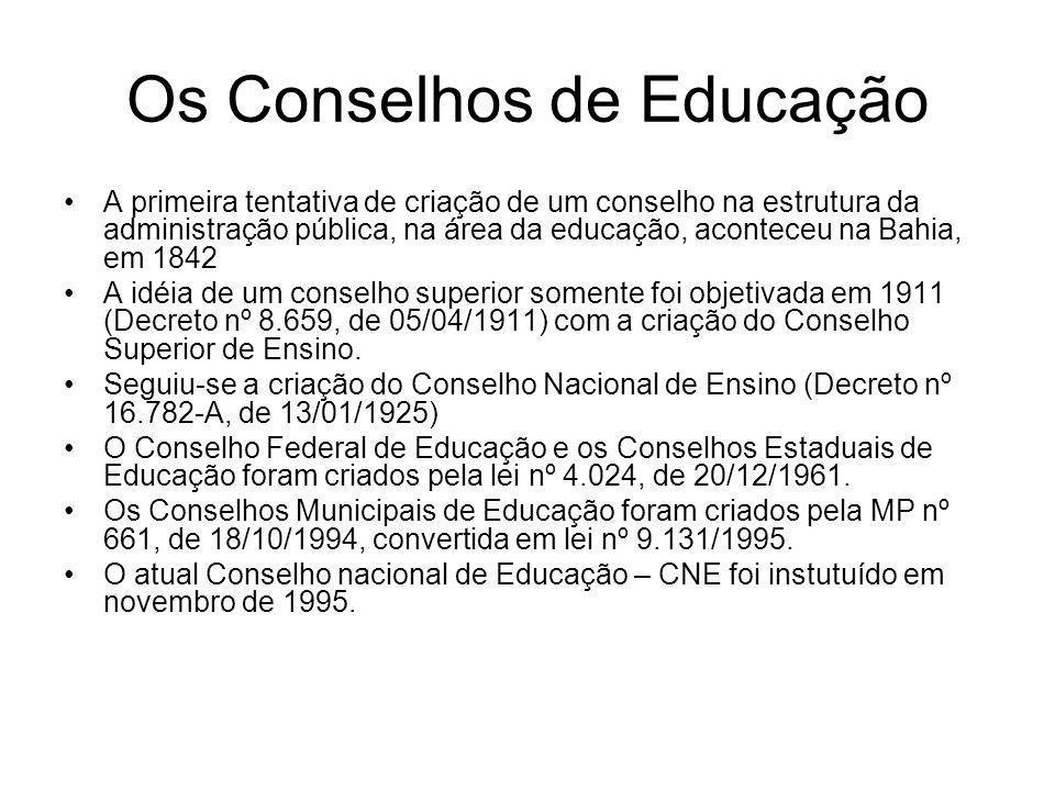Os Conselhos de Educação A primeira tentativa de criação de um conselho na estrutura da administração pública, na área da educação, aconteceu na Bahia