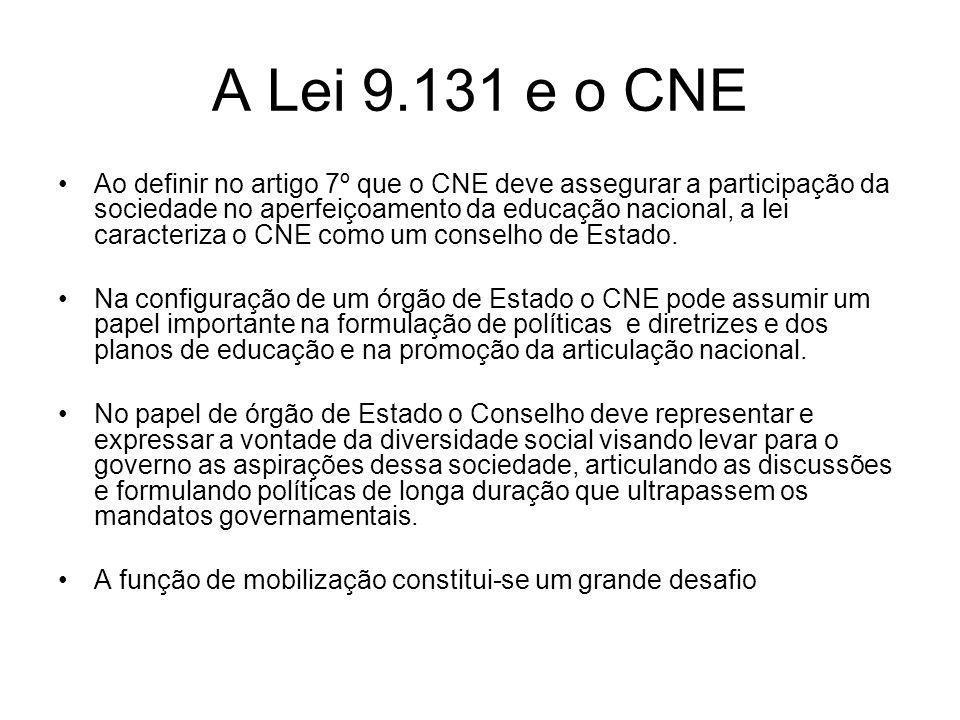 A Lei 9.131 e o CNE Ao definir no artigo 7º que o CNE deve assegurar a participação da sociedade no aperfeiçoamento da educação nacional, a lei caract