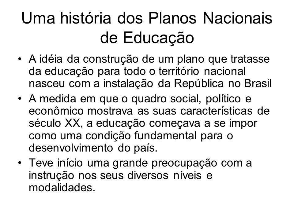 Uma história dos Planos Nacionais de Educação A idéia da construção de um plano que tratasse da educação para todo o território nacional nasceu com a