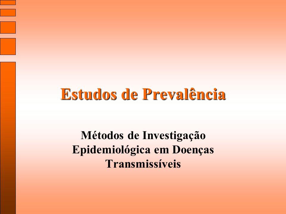 Estudos de prevalência ou de corte transversal são utilizados para estimar a freqüência de um evento de saúde na população Eventos são avaliados em um determinado período de tempo ou num curto período de tempo