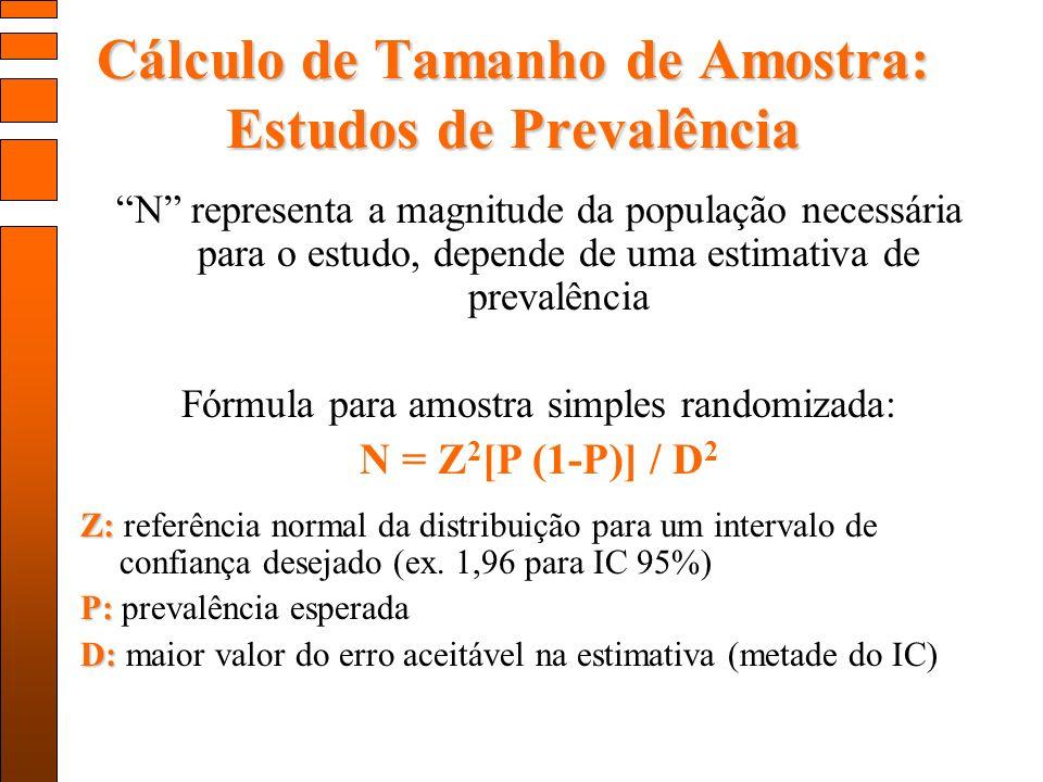 Cálculo de Tamanho de Amostra: Estudos de Prevalência N representa a magnitude da população necessária para o estudo, depende de uma estimativa de prevalência Fórmula para amostra simples randomizada: N = Z 2 [P (1-P)] / D 2 Z: Z: referência normal da distribuição para um intervalo de confiança desejado (ex.